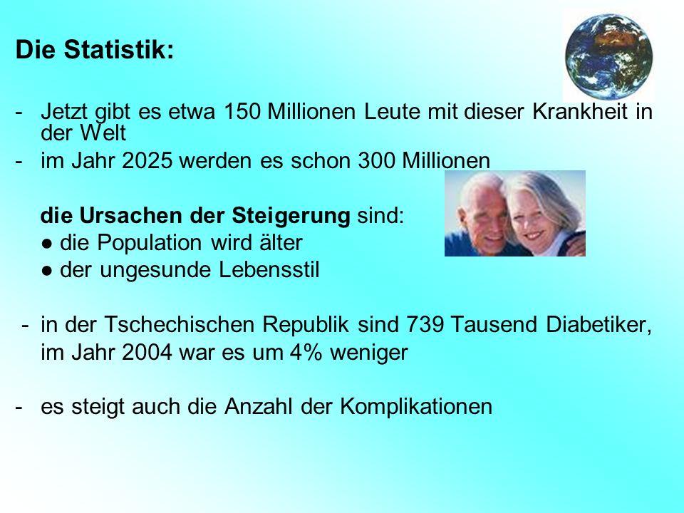 Die Statistik: -Jetzt gibt es etwa 150 Millionen Leute mit dieser Krankheit in der Welt -im Jahr 2025 werden es schon 300 Millionen die Ursachen der S