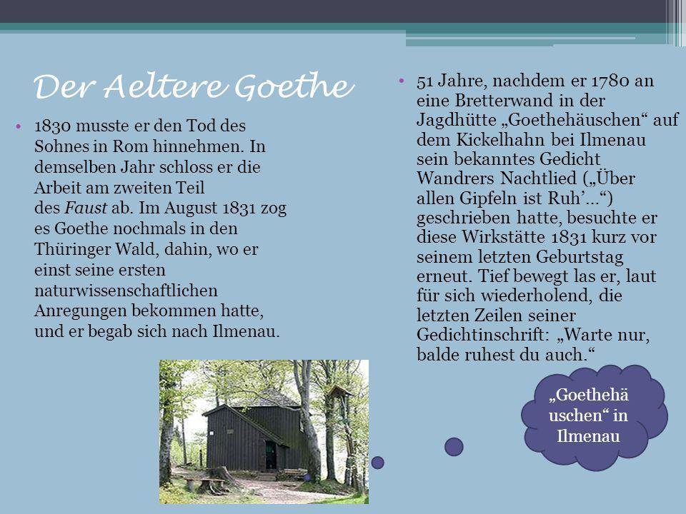 Der Aeltere Goethe 1830 musste er den Tod des Sohnes in Rom hinnehmen. In demselben Jahr schloss er die Arbeit am zweiten Teil des Faust ab. Im August