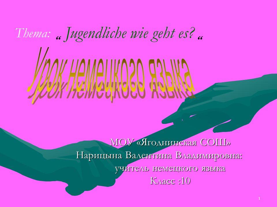1 МОУ «Ягоднинская СОШ» Нарицына Валентина Владимировна: учитель немецкого языка Класс :10 Jugendliche wie geht es.