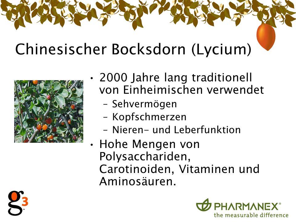 Chinesischer Bocksdorn (Lycium) 2000 Jahre lang traditionell von Einheimischen verwendet –Sehvermögen –Kopfschmerzen –Nieren- und Leberfunktion Hohe Mengen von Polysacchariden, Carotinoiden, Vitaminen und Aminosäuren.