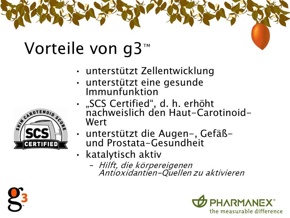 Vorteile von g3 unterstützt Zellentwicklung unterstützt eine gesunde Immunfunktion SCS Certified, d.