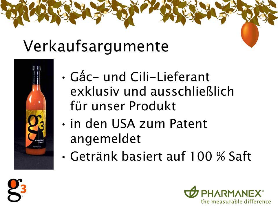 Verkaufsargumente G c- und Cili-Lieferant exklusiv und ausschließlich für unser Produkt in den USA zum Patent angemeldet Getränk basiert auf 100 % Saft