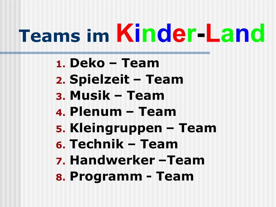 Teams im Kinder-Land 1.Deko – Team 2. Spielzeit – Team 3.