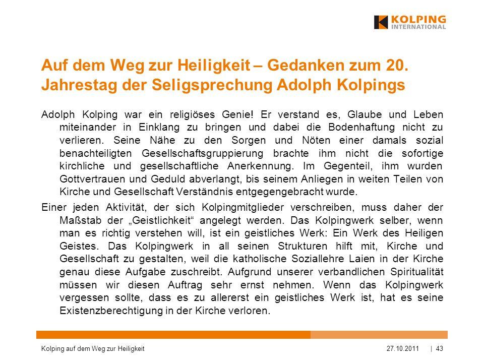 Auf dem Weg zur Heiligkeit – Gedanken zum 20. Jahrestag der Seligsprechung Adolph Kolpings Adolph Kolping war ein religiöses Genie! Er verstand es, Gl