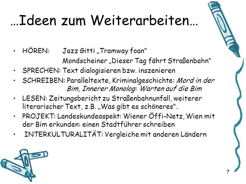 …Ideen zum Weiterarbeiten… HÖREN:Jazz Gitti Tramway foan Mondscheiner Dieser Tag fährt Straßenbahn SPRECHEN: Text dialogisieren bzw. inszenieren SCHRE