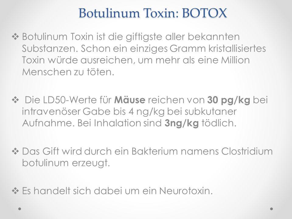 Botulinum Toxin: BOTOX Botulinum Toxin ist die giftigste aller bekannten Substanzen. Schon ein einziges Gramm kristallisiertes Toxin würde ausreichen,