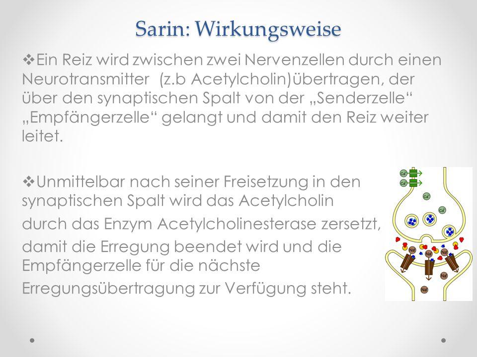 Sarin: Wirkungsweise Ein Reiz wird zwischen zwei Nervenzellen durch einen Neurotransmitter (z.b Acetylcholin)übertragen, der über den synaptischen Spa