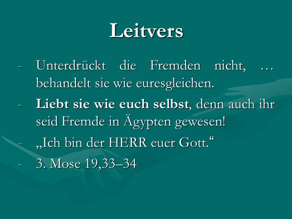 Leitvers -Unterdrückt die Fremden nicht, … behandelt sie wie euresgleichen.