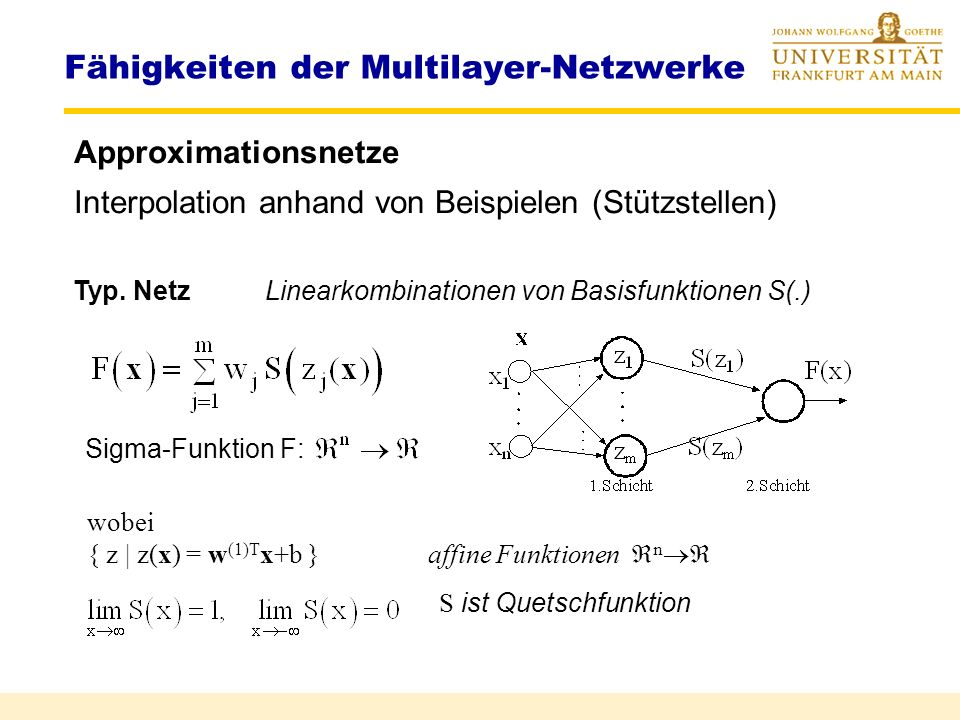 Multilayer-Klassifikation Separierung von Klassen 1.Neuron 2.Neuron 3.Neuron