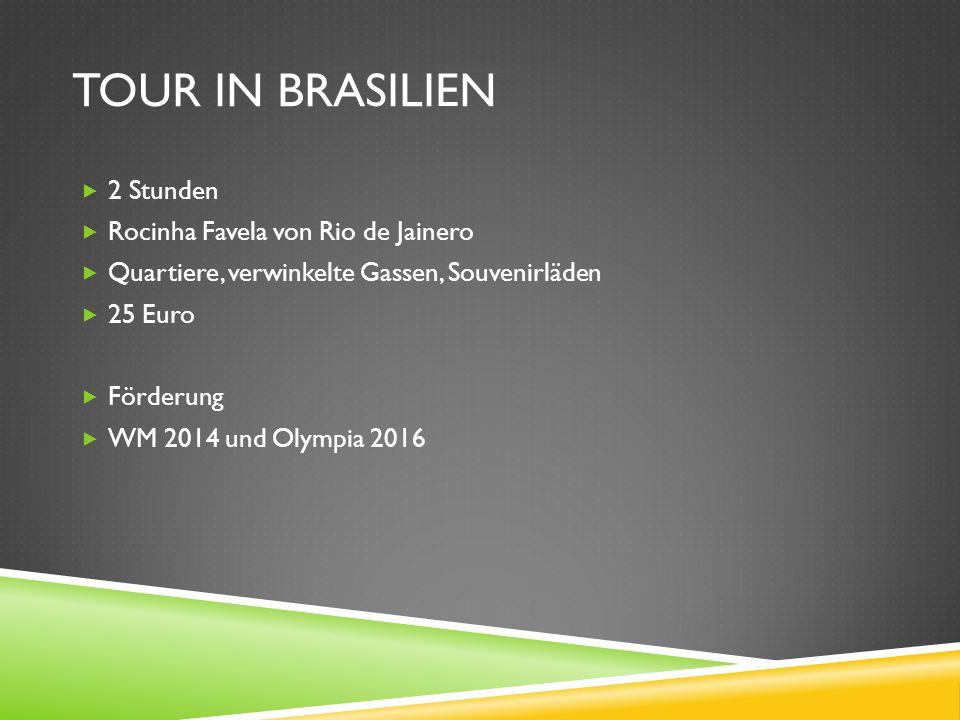 TOUR IN BRASILIEN 2 Stunden Rocinha Favela von Rio de Jainero Quartiere, verwinkelte Gassen, Souvenirläden 25 Euro Förderung WM 2014 und Olympia 2016