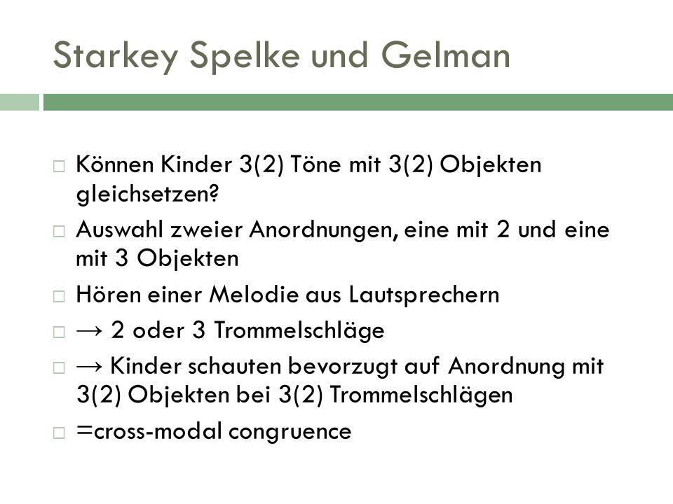Starkey Spelke und Gelman Können Kinder 3(2) Töne mit 3(2) Objekten gleichsetzen? Auswahl zweier Anordnungen, eine mit 2 und eine mit 3 Objekten Hören