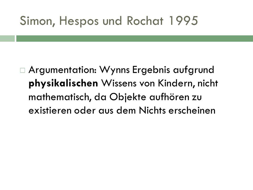 Simon, Hespos und Rochat 1995 Argumentation: Wynns Ergebnis aufgrund physikalischen Wissens von Kindern, nicht mathematisch, da Objekte aufhören zu ex