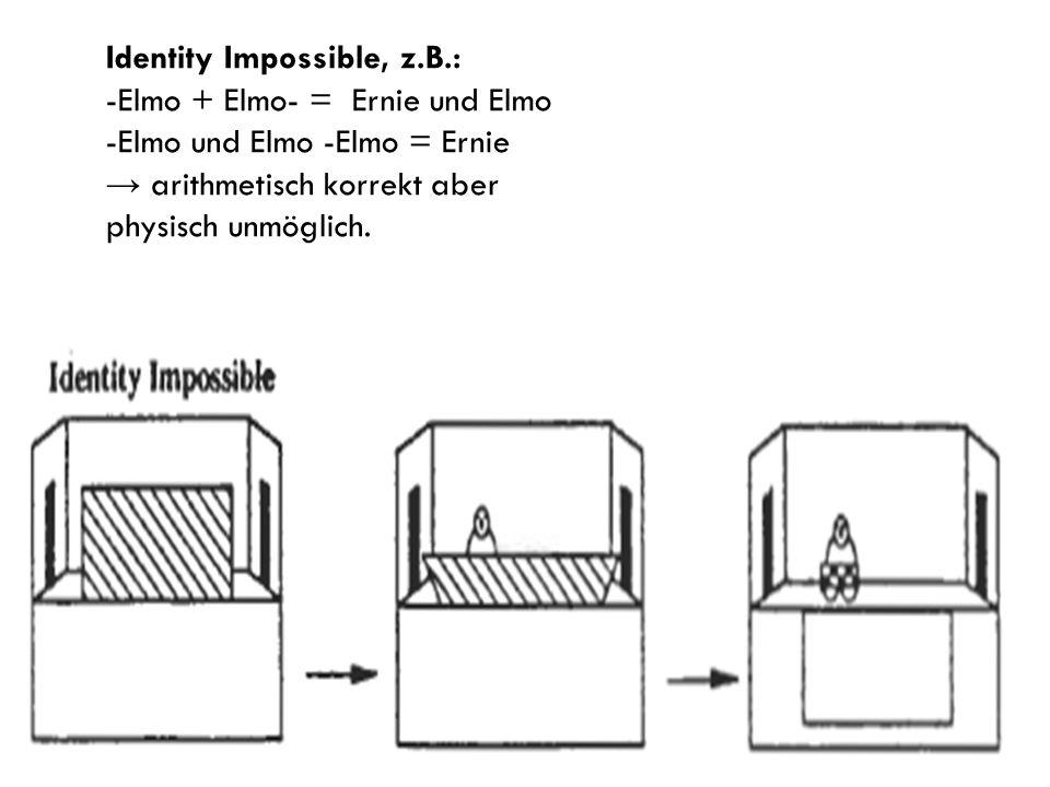 Identity Impossible, z.B.: -Elmo + Elmo- = Ernie und Elmo -Elmo und Elmo -Elmo = Ernie arithmetisch korrekt aber physisch unmöglich.
