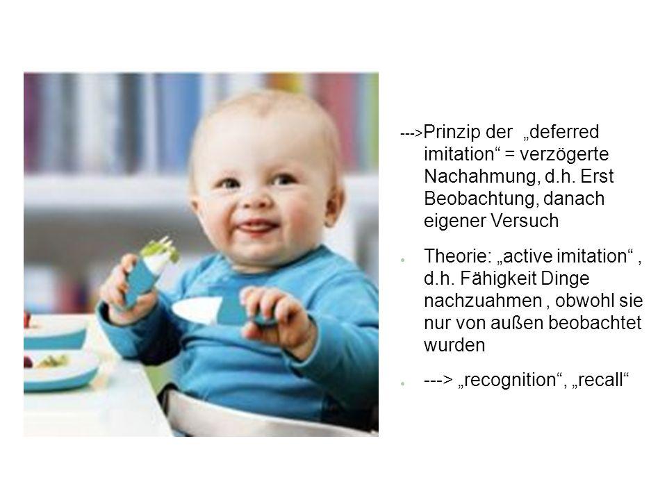 ---> Prinzip der deferred imitation = verzögerte Nachahmung, d.h. Erst Beobachtung, danach eigener Versuch Theorie: active imitation, d.h. Fähigkeit D