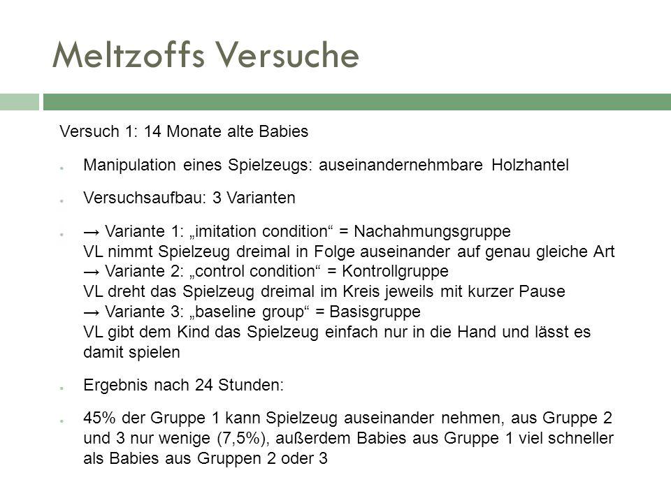 Meltzoffs Versuche Versuch 1: 14 Monate alte Babies Manipulation eines Spielzeugs: auseinandernehmbare Holzhantel Versuchsaufbau: 3 Varianten Variante