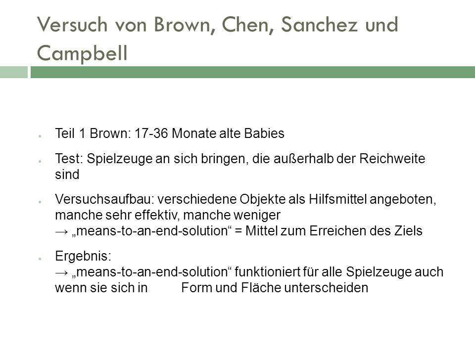 Versuch von Brown, Chen, Sanchez und Campbell Teil 1 Brown: 17-36 Monate alte Babies Test: Spielzeuge an sich bringen, die außerhalb der Reichweite si