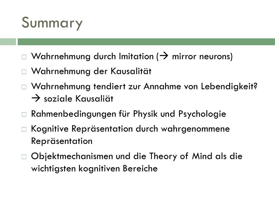 Wahrnehmung durch Imitation ( mirror neurons) Wahrnehmung der Kausalität Wahrnehmung tendiert zur Annahme von Lebendigkeit? soziale Kausaliät Rahmenbe