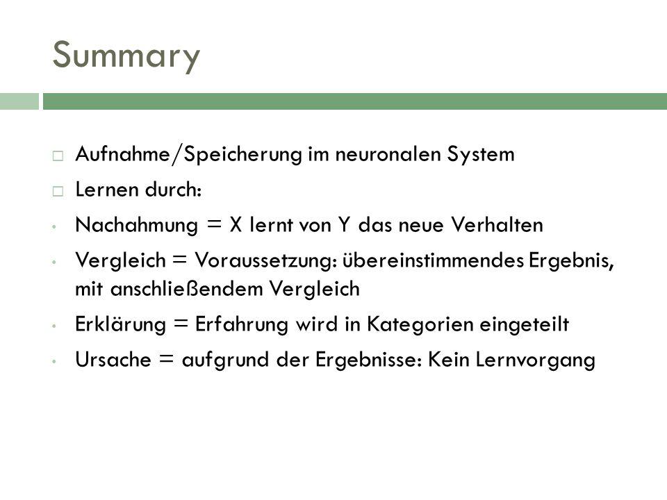 Summary Aufnahme/Speicherung im neuronalen System Lernen durch: Nachahmung = X lernt von Y das neue Verhalten Vergleich = Voraussetzung: übereinstimme