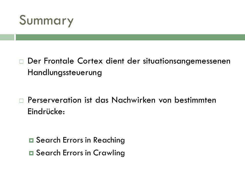 Summary Der Frontale Cortex dient der situationsangemessenen Handlungssteuerung Perserveration ist das Nachwirken von bestimmten Eindrücke: Search Err