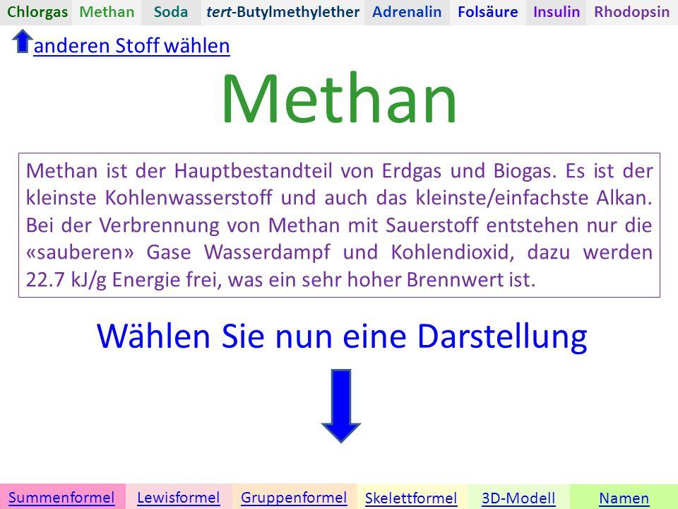 Wählen Sie nun eine Darstellung Methan Methan ist der Hauptbestandteil von Erdgas und Biogas.