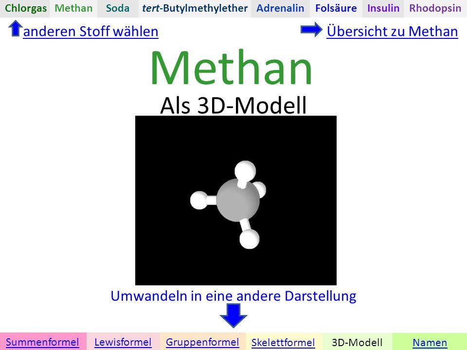 Methan Namen Umwandeln in eine andere Darstellung 3D-ModellSkelettformel GruppenformelSummenformelLewisformel Als 3D-Modell Übersicht zu Methananderen Stoff wählen tert-ButylmethyletherChlorgasAdrenalinInsulinRhodopsinFolsäureMethanSoda