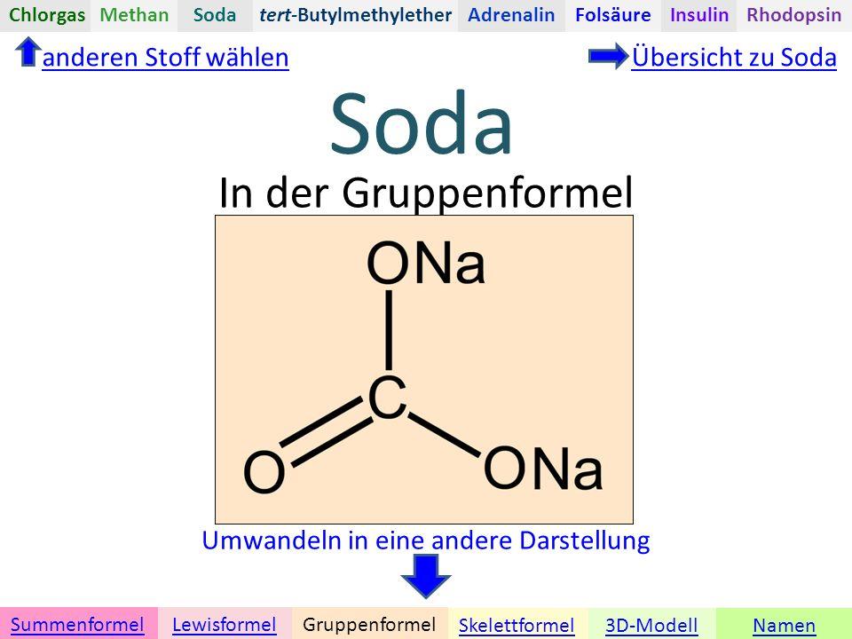 Soda Namen Umwandeln in eine andere Darstellung 3D-ModellSkelettformel GruppenformelSummenformelLewisformel In der Gruppenformel anderen Stoff wählenÜbersicht zu Soda tert-ButylmethyletherChlorgasAdrenalinInsulinRhodopsinFolsäureMethanSoda