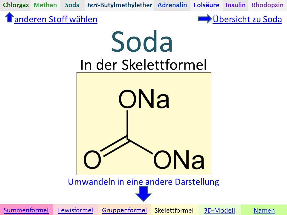 Namen Umwandeln in eine andere Darstellung 3D-ModellSkelettformel GruppenformelSummenformelLewisformel In der Skelettformel anderen Stoff wählenÜbersicht zu Soda tert-ButylmethyletherChlorgasAdrenalinInsulinRhodopsinFolsäureMethanSoda