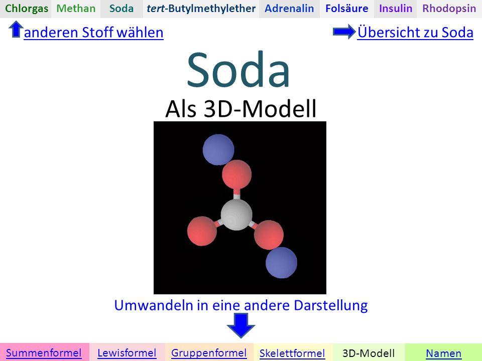 Namen Umwandeln in eine andere Darstellung 3D-ModellSkelettformel GruppenformelSummenformelLewisformel Als 3D-Modell anderen Stoff wählenÜbersicht zu Soda tert-ButylmethyletherChlorgasAdrenalinInsulinRhodopsinFolsäureMethanSoda