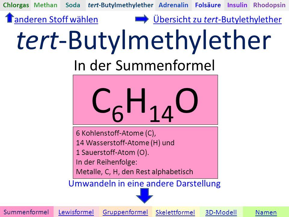 Namen tert-Butylmethylether Umwandeln in eine andere Darstellung 3D-ModellSkelettformel GruppenformelSummenformelLewisformel ChlorgasAdrenalinInsulinRhodopsinFolsäureMethanSoda In der Summenformel anderen Stoff wählen C 6 H 14 O 6 Kohlenstoff-Atome (C), 14 Wasserstoff-Atome (H) und 1 Sauerstoff-Atom (O).