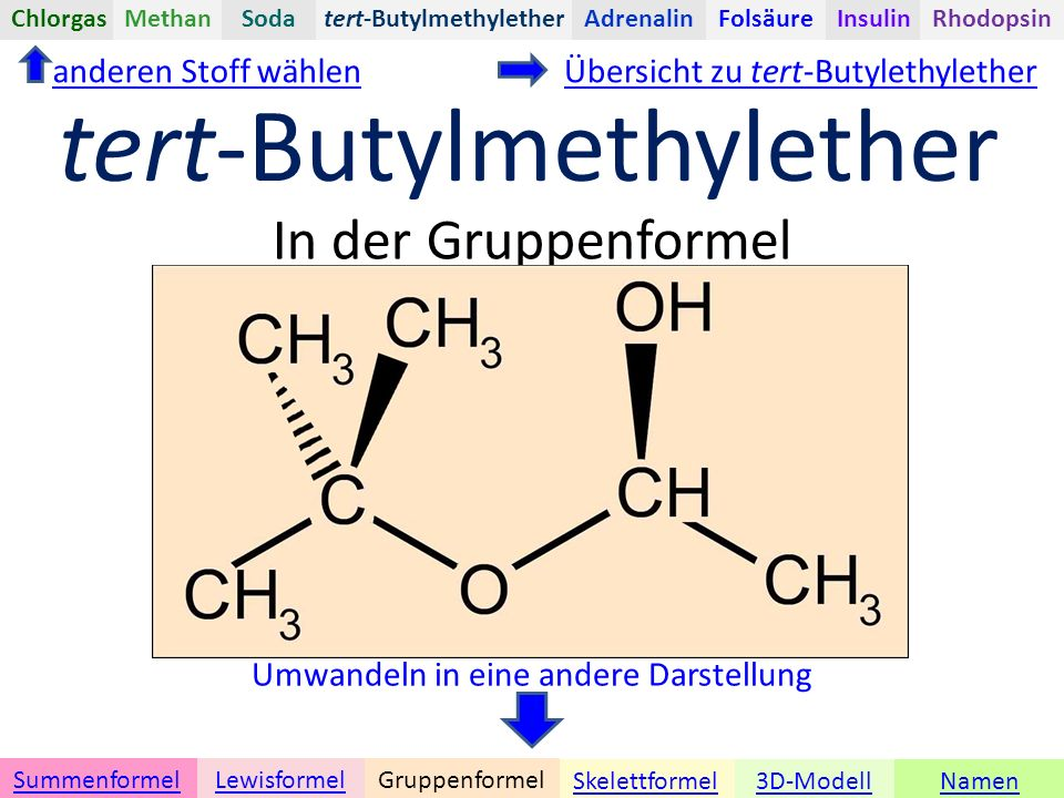 Namen Umwandeln in eine andere Darstellung 3D-ModellSkelettformel GruppenformelSummenformelLewisformel In der Gruppenformel anderen Stoff wählen tert-ButylmethyletherChlorgasAdrenalinInsulinRhodopsinFolsäureMethanSoda tert-Butylmethylether Übersicht zu tert-Butylethylether