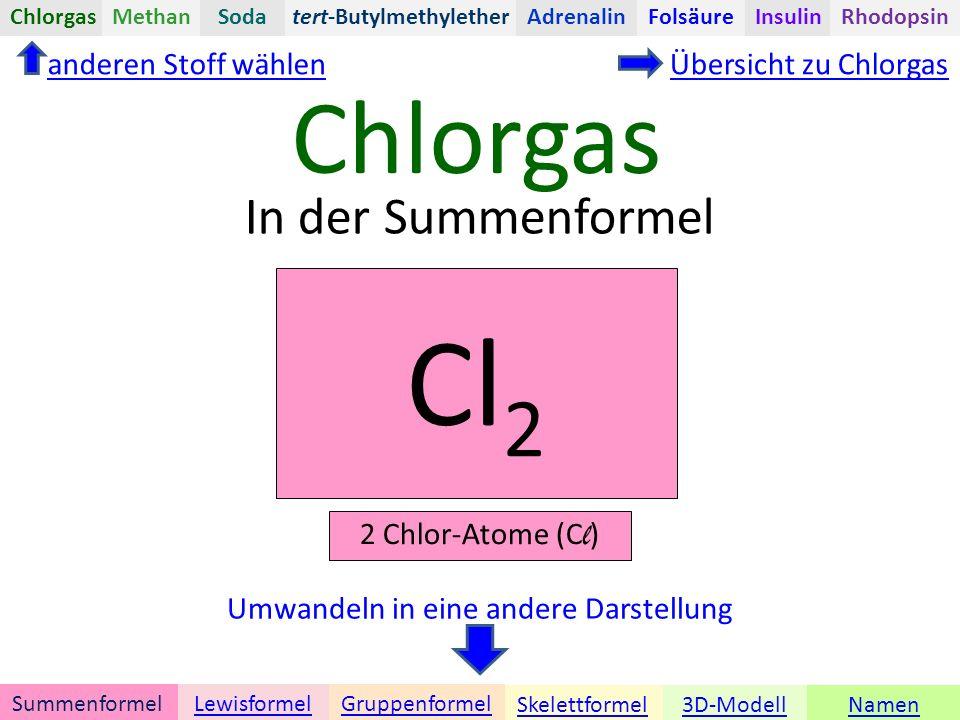 Chlorgas Namen tert-Butylmethylether Umwandeln in eine andere Darstellung 3D-ModellSkelettformel GruppenformelSummenformelLewisformel ChlorgasAdrenalinInsulinRhodopsinFolsäureMethanSoda In der Summenformel anderen Stoff wählenÜbersicht zu Chlorgas Cl 2 2 Chlor-Atome (C l )