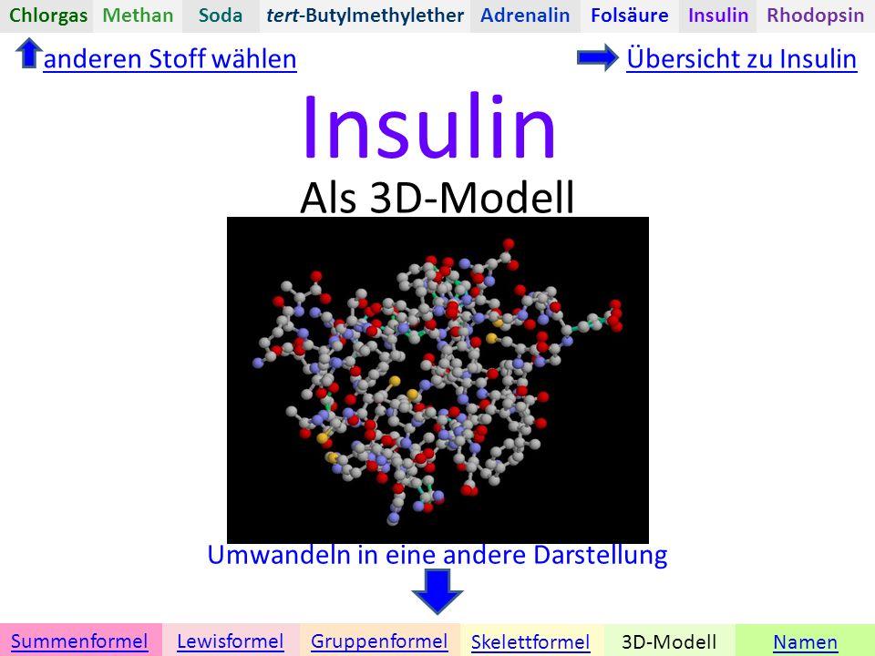 Insulin Namen Umwandeln in eine andere Darstellung 3D-ModellSkelettformel GruppenformelSummenformelLewisformel Als 3D-Modell anderen Stoff wählenÜbersicht zu Insulin tert-ButylmethyletherChlorgasAdrenalinInsulinRhodopsinFolsäureMethanSoda