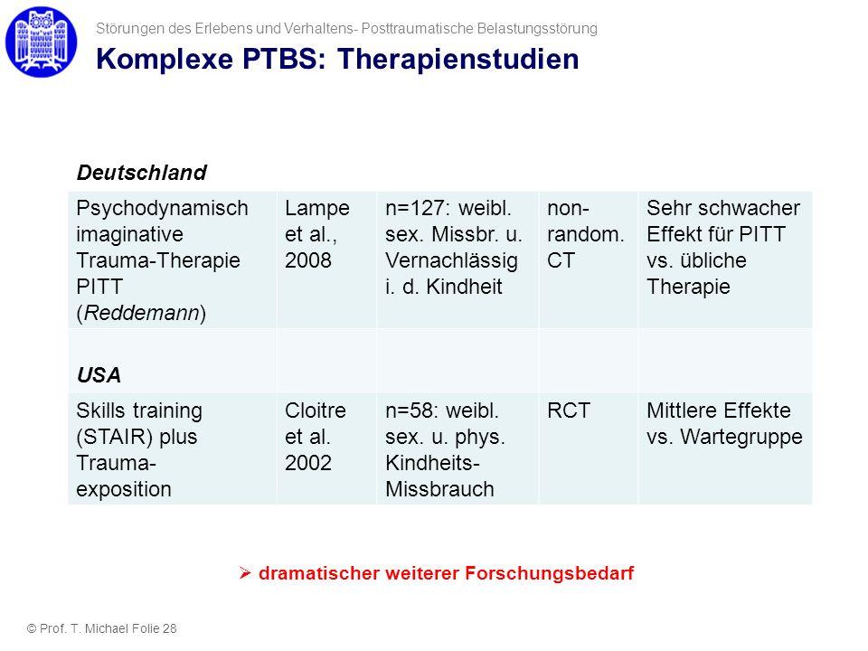 Komplexe PTBS: Therapienstudien Deutschland Psychodynamisch imaginative Trauma-Therapie PITT (Reddemann) Lampe et al., 2008 n=127: weibl. sex. Missbr.