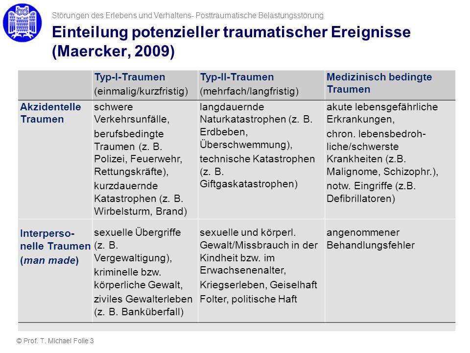 Einteilung potenzieller traumatischer Ereignisse (Maercker, 2009) Typ-I-Traumen (einmalig/kurzfristig) Typ-II-Traumen (mehrfach/langfristig) Medizinis