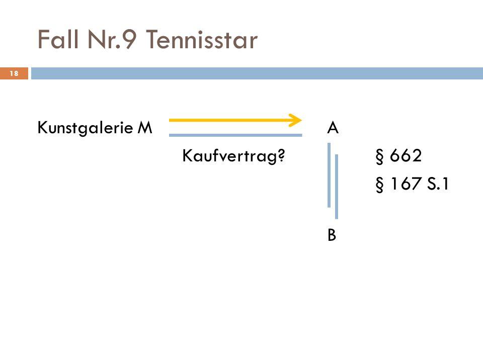 Fall Nr.9 Tennisstar 18 Kunstgalerie MA Kaufvertrag?§ 662 § 167 S.1 B