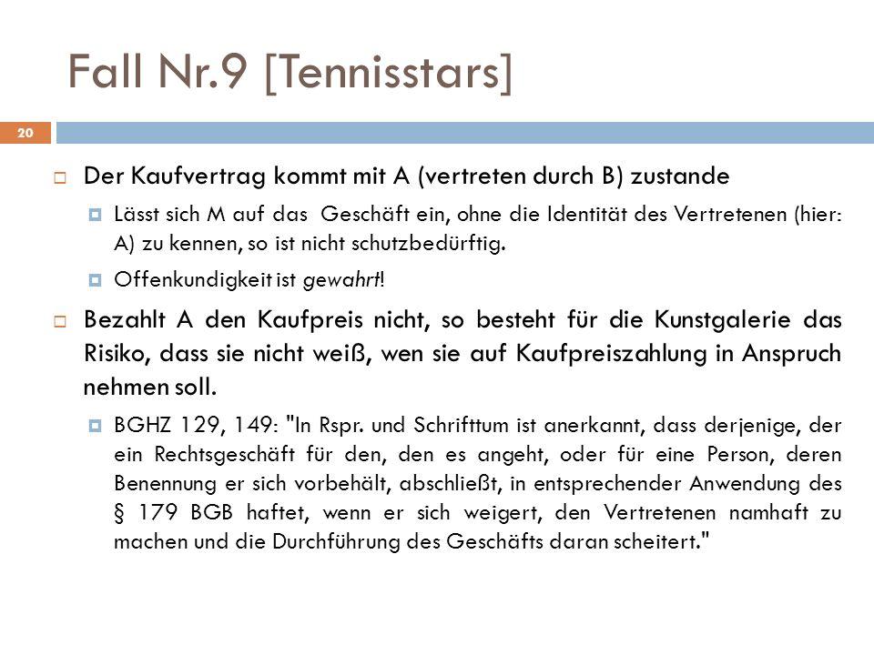 20 Fall Nr.9 [Tennisstars] Der Kaufvertrag kommt mit A (vertreten durch B) zustande Lässt sich M auf das Geschäft ein, ohne die Identität des Vertrete