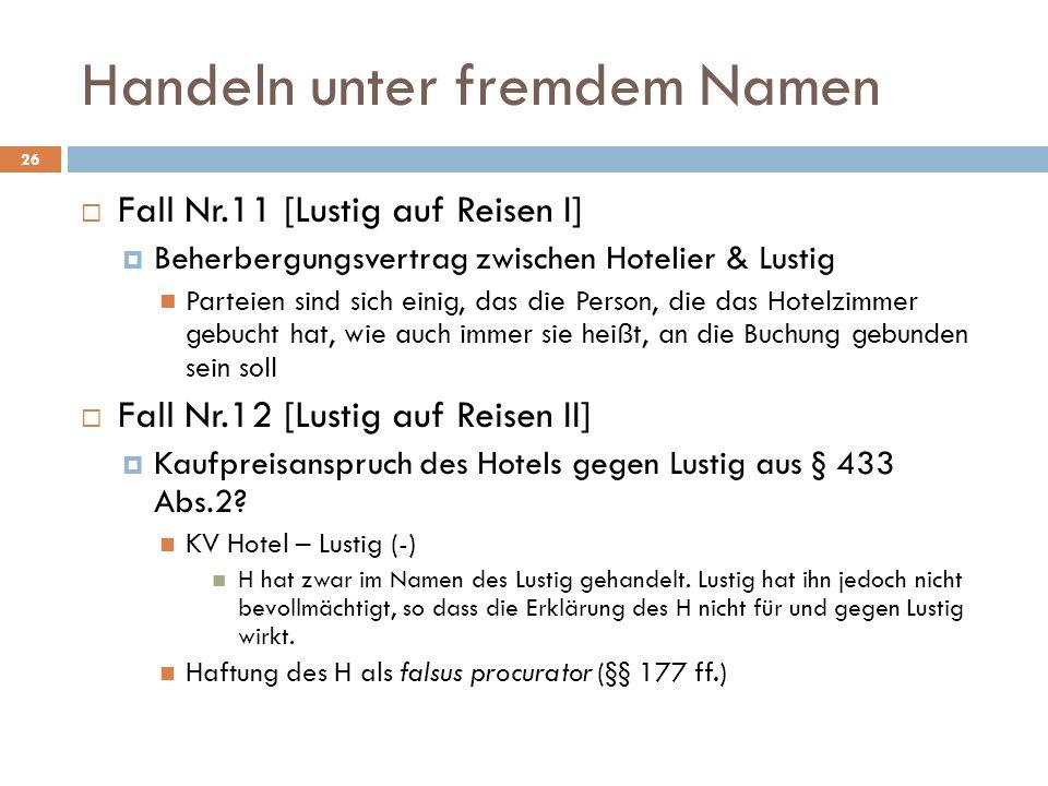 Handeln unter fremdem Namen 26 Fall Nr.11 [Lustig auf Reisen I] Beherbergungsvertrag zwischen Hotelier & Lustig Parteien sind sich einig, das die Pers