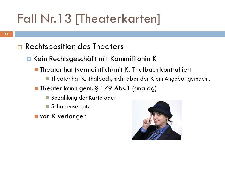 Fall Nr.13 [Theaterkarten] 27 Rechtsposition des Theaters Kein Rechtsgeschäft mit Kommilitonin K Theater hat (vermeintlich) mit K. Thalbach kontrahier