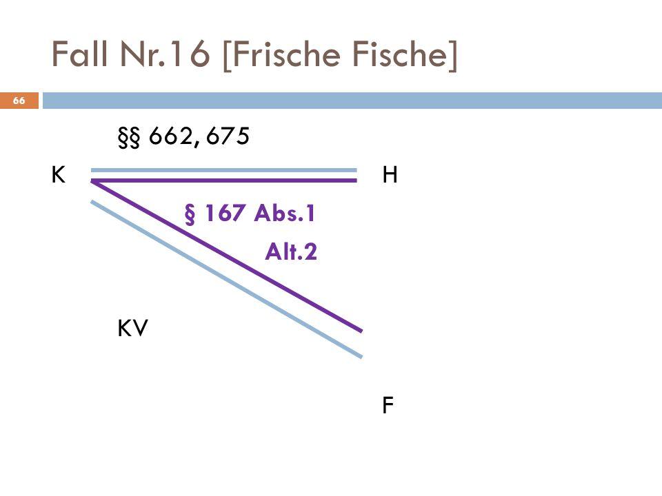 Fall Nr.16 [Frische Fische] 66 §§ 662, 675 KH § 167 Abs.1 Alt.2 KV F