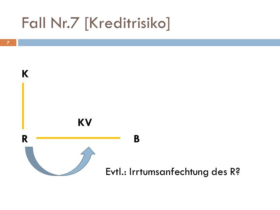 8 Fall Nr.7 [Kreditrisiko] Lösungsvorschlag B gegen R auf Kaufpreiszahlung gem.