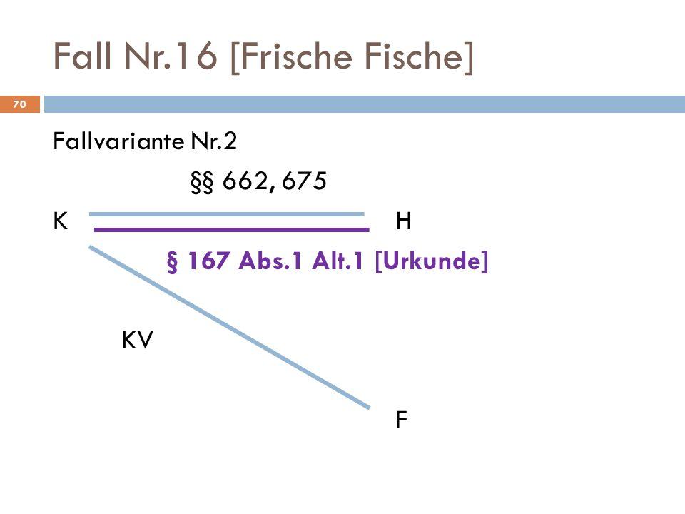 Fall Nr.16 [Frische Fische] 70 Fallvariante Nr.2 §§ 662, 675 KH § 167 Abs.1 Alt.1 [Urkunde] KV F