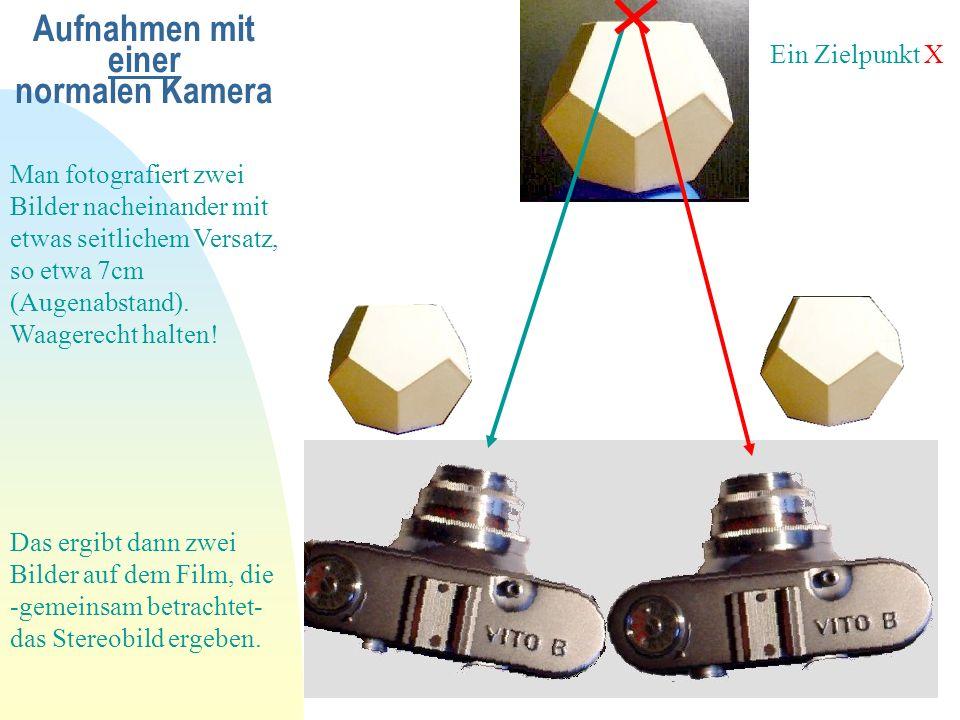 Aufnahmen mit einer normalen Kamera Man fotografiert zwei Bilder nacheinander mit etwas seitlichem Versatz, so etwa 7cm (Augenabstand). Waagerecht hal