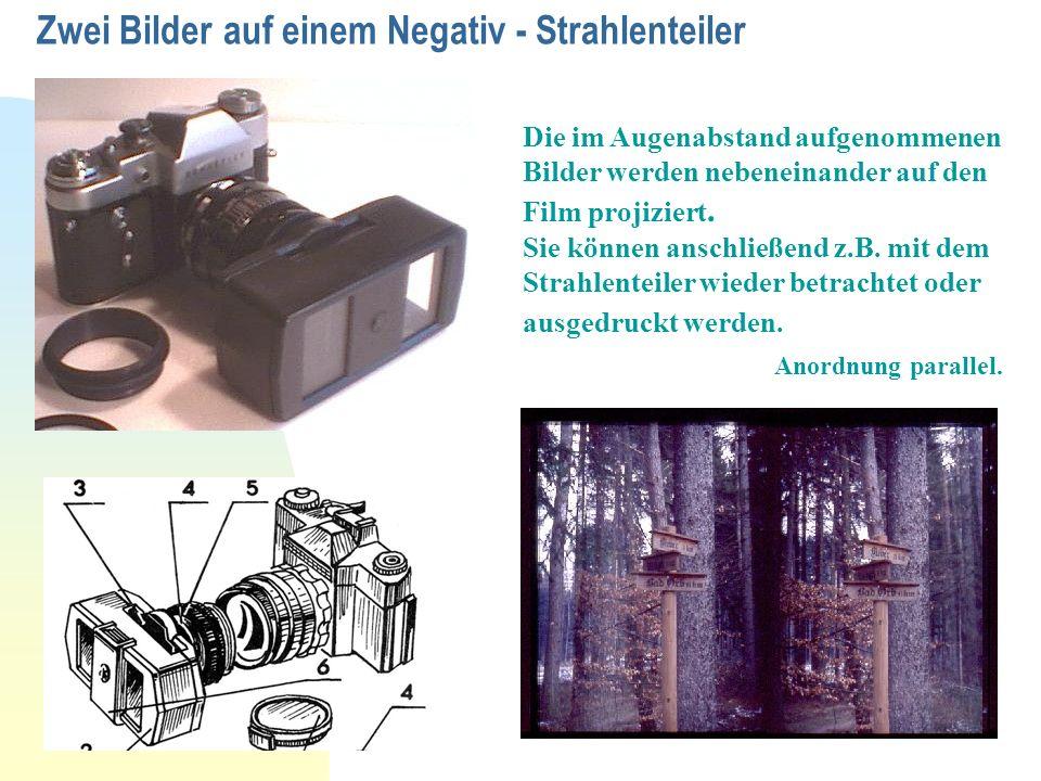 Zwei Bilder auf einem Negativ - Strahlenteiler Die im Augenabstand aufgenommenen Bilder werden nebeneinander auf den Film projiziert. Sie können ansch