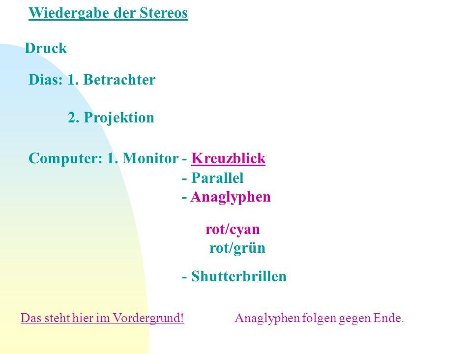 Wiedergabe der Stereos Druck Dias: 1. Betrachter 2. Projektion Computer: 1. Monitor - Kreuzblick - Parallel - Anaglyphen rot/cyan rot/grün - Shutterbr