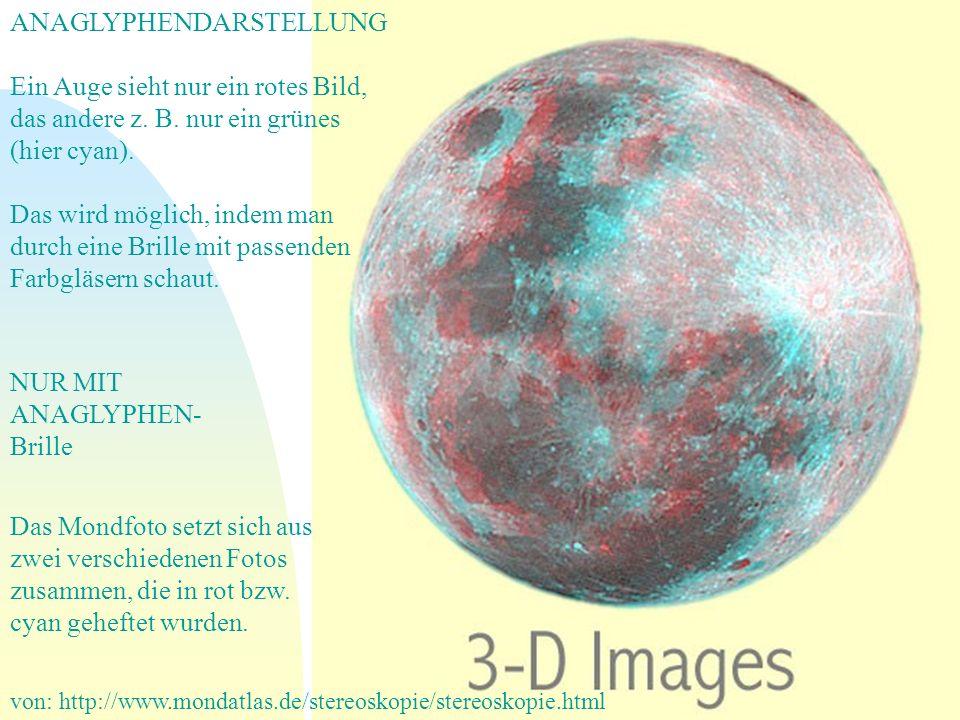 von: http://www.mondatlas.de/stereoskopie/stereoskopie.html ANAGLYPHENDARSTELLUNG Ein Auge sieht nur ein rotes Bild, das andere z. B. nur ein grünes (