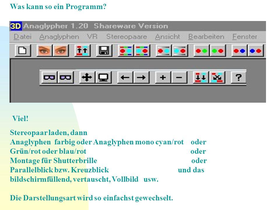 Was kann so ein Programm? Viel! Stereopaar laden, dann Anaglyphen farbig oder Anaglyphen mono cyan/rot oder Grün/rot oder blau/rot oder Montage für Sh