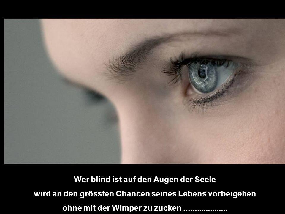 Wer blind ist auf den Augen der Seele wird an den grössten Chancen seines Lebens vorbeigehen ohne mit der Wimper zu zucken....................