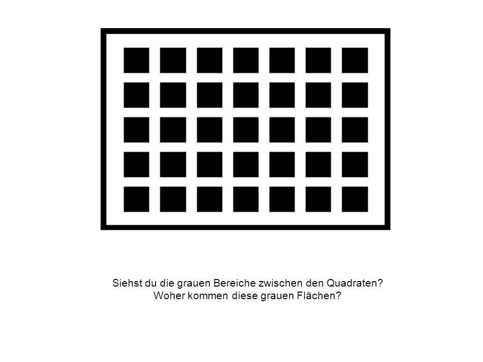 Siehst du die grauen Bereiche zwischen den Quadraten? Woher kommen diese grauen Flächen?