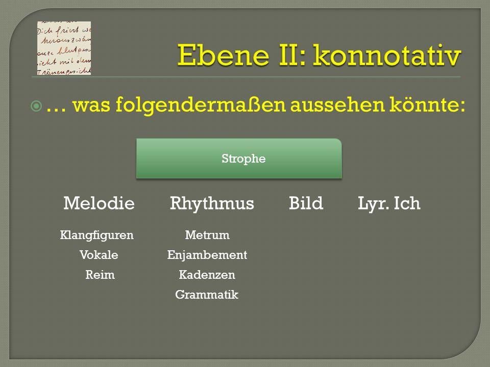 … was folgendermaßen aussehen könnte: Strophe MelodieRhythmusBildLyr. Ich Klangfiguren Vokale Reim Metrum Enjambement Kadenzen Grammatik