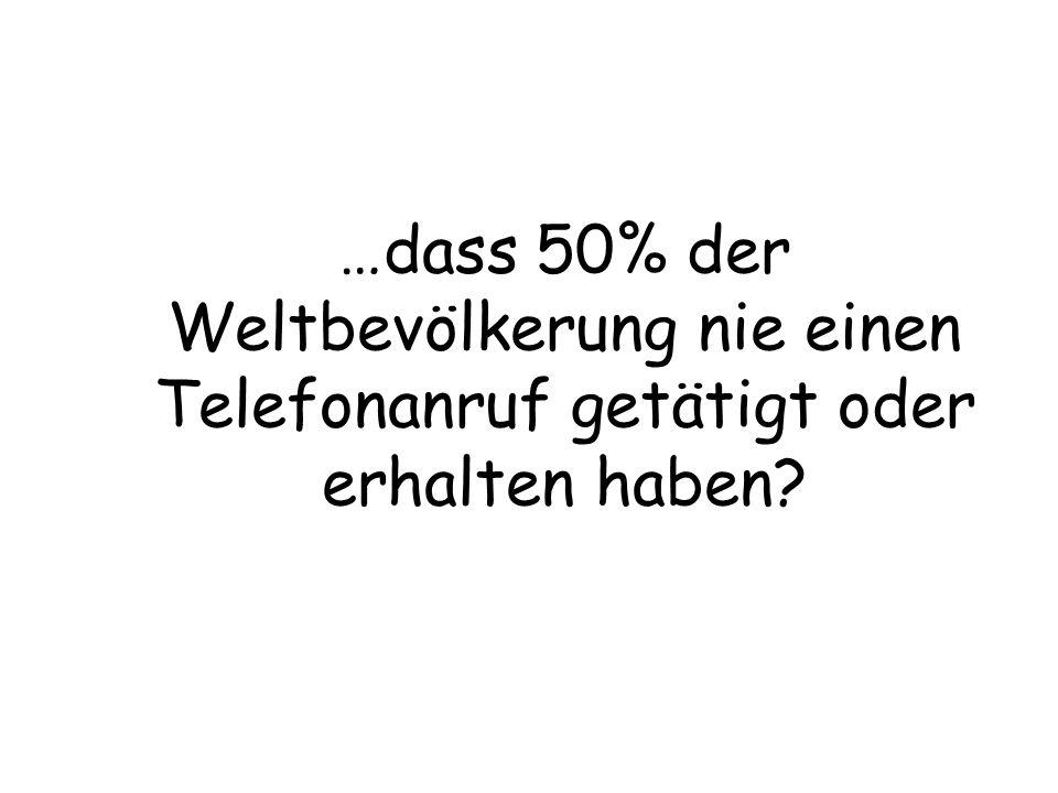 …dass 50% der Weltbevölkerung nie einen Telefonanruf getätigt oder erhalten haben?